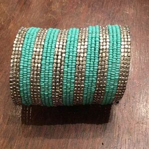 Turquoise and silver beaded cuff bracelet